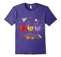 Pumpkin Halloween Wine Glasses Funny Shirts Purple