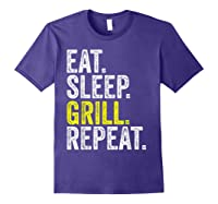 Eat Sleep Grill Repeat Grilling Cook Cooking Bbq Barbecue T-shirt Purple