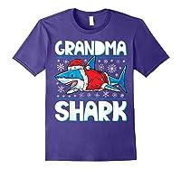 Grandma Shark Santa Christmas Family Matching S Shirts Purple
