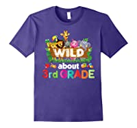 Wild About 3rd Third Grade Tea Student Back To School T-shirt Purple