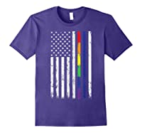Police Support Lgbt Gay Pride Thin Red Line Rainbow Flag Fun T-shirt Purple
