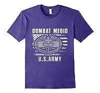 Combat Medic Us Army Flag America 4th July Shirts Purple