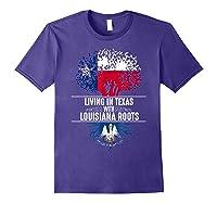 Texas Home Louisiana Roots State Tree Flag Shirt Love Gift Purple