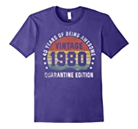 40th Vintage Quarantine Edition 1980 Birthday Gift Shirts Purple