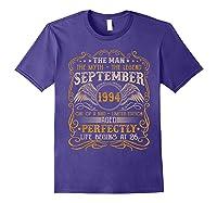 September 1994 Man Myth Legend 26th Birthday 26 Years Old Shirts Purple