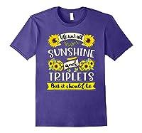 Sunshine And Triplets Funny Triplets Mom Grandma Shirts Purple