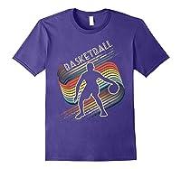 Vintage Retro Basketball Shirt Colorful Tshirt Purple