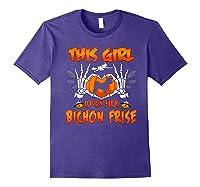 This Girl Loves Her Bichon Frise Dog Halloween Costume Shirts Purple