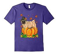 Thanksgiving Day Pug Dog Costume Pumpkin Gifts T-shirt Purple