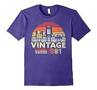 1981 Shirt. Vintage Birthday Gift, Funny Music, Tech Humor T-shirt Purple