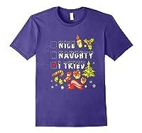 Nice Naughty I Tried Funny Candy Christmas Pajama Gift Shirts Purple