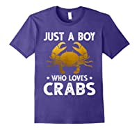 Just A Boy Who Loves Crabs Cute Animals Lovers Shirts Purple