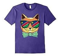 Namibia Flag Namibia Cat Sunglasses Shirt Purple