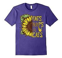 Sunflower Tats Naps & Cats Sunflower Tshirt Cat Lover Gifts Purple
