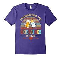 Promoted To Godfather Est 2019 Vintage Arrow Shirts Purple