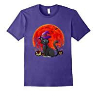 Vintage Scary Halloween Black Cat Costume Witch Hat & Moon T-shirt Purple