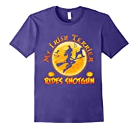 My Irish Terrier Dog Rides Shotgun Halloween Costumes Dogs T-shirt Purple
