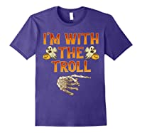 I'm With The Troll Costume Funny Halloween Couple Shirts Purple