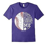 Baseball Gifts Bible Verse Sayings Philippians 413 Shirts Purple