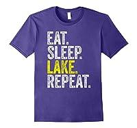 Eat Sleep Lake Repeat Summer Boating Vacation Boat Premium T-shirt Purple