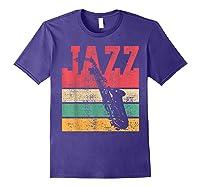 Saxophone Baritone Jazz Music Retro Vintage Gift T-shirt Purple