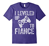 Funny Video Gamer Gift I Leveled Up To Fiance Cute Shirts Purple
