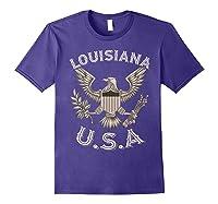 Louisiana Usa Patrio Eagle Vintage Distressed Shirts Purple