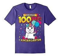Unicorn Happy 100 Days School Kindergarten Girls Gift Shirts Purple