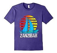Zanzibar Sailing T-shirt Sunset Sailboat Vacation Gift Purple