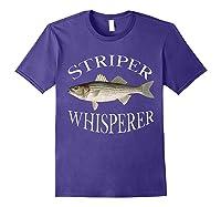 Striper Whisperer Striped Bass Fish Illustration Fishing T-shirt Purple