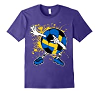 Dabbing Sweden Soccer Tshirt For Football Tee Purple