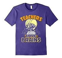 Teas Love Brains Funny Halloween Costume Gift Shirts Purple