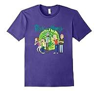 Rick & Morty Family Group Portal With Logo T-shirt Purple