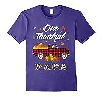 One Thankful Papa Truck Thanksgiving Day Family Matching T-shirt Purple