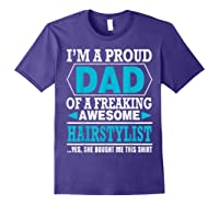 S Proud Dad Awesome Hairstylist Gift T-shirt Purple