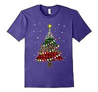 Christmas Tree Leopard Print Buffalo Plaid Merry Xmas Gift Shirts Purple