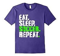 Eat Sleep Soccer Repeat Football Lover T Shirt Gift Idea Purple