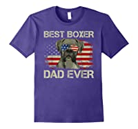 Best Boxer Dad Ever Dog Lover American Flag Gift Shirts Purple