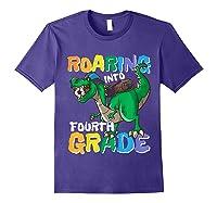 Roaring Into Fourth Grade 4 Dinosaur Back To School Soccer Shirts Purple