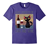 Cat Easily Distracted By Cats And Wine Shirts Purple