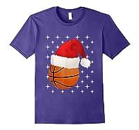 Christmas Stars Basketball Ball Santa Hat Funny Sports Xmas T-shirt Purple