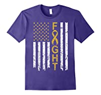 Childhood Cancer Awareness T-shirt American Flag Distresse T-shirt Purple