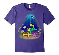 Underwater Treasure Hunter Cat Adventure Shirts Purple