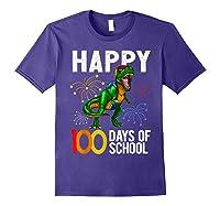 100 Days Of School Dinosaur T Rex Pencil Backpack Gift Shirts Purple