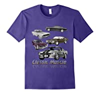 Classic American Muscle Cars Vintage Gift Shirts Purple