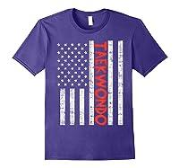 Us Flag Taekwondo Vintage Patriotic Martial Arts Lover Gift T-shirt Purple