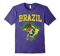 Brazil Soccer Boy Brazilian Football Dabbing Shirts Purple