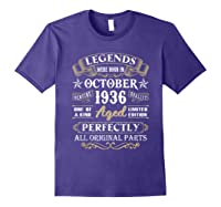 Legends Were Born In October 1936 84th Birthday Gifts T-shirt Purple