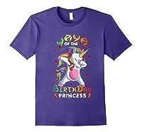 Yaya Of The Birthday Princess Unicorn Girl T-shirt Purple