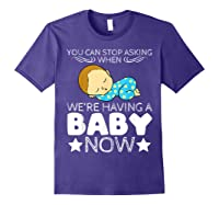 Baby Family Pregnant Mother Daughter Son Design Having Baby Shirts Purple